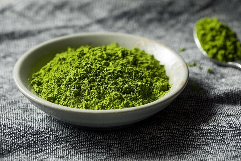 Zelený prášek japonského čaje matcha